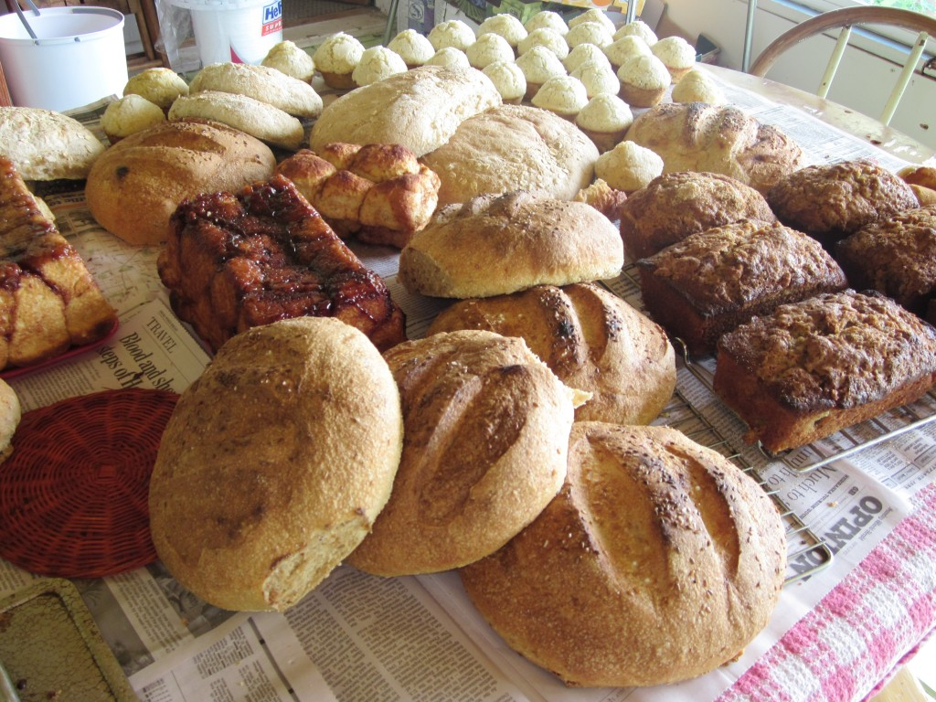 Here's a pile of fresh breads, cooling before we can bag them up for sale.