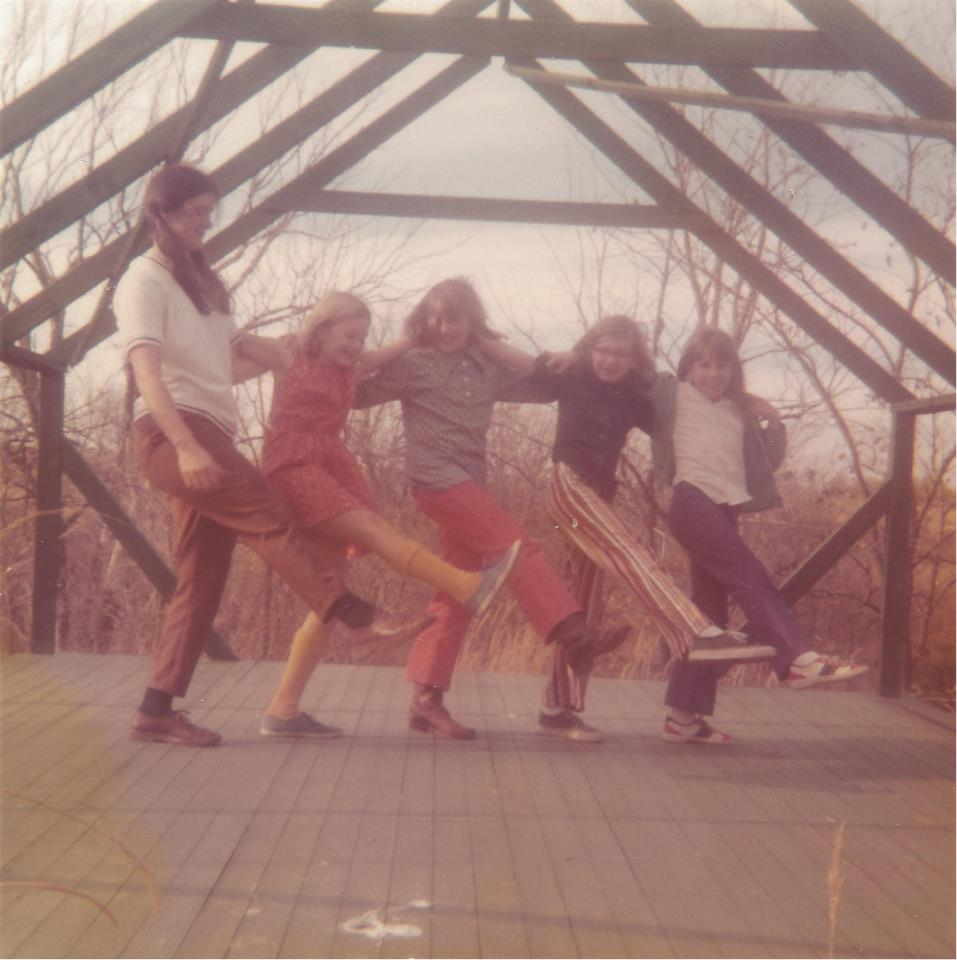 Here my Mom, Elna Young, teaches me and my friends a fancy dance move.