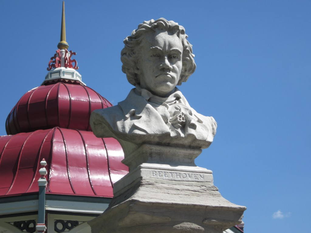 Around the picturesque bandstand (in the background) are busts of well-known composers.  Here Beethoven frowns down at us.