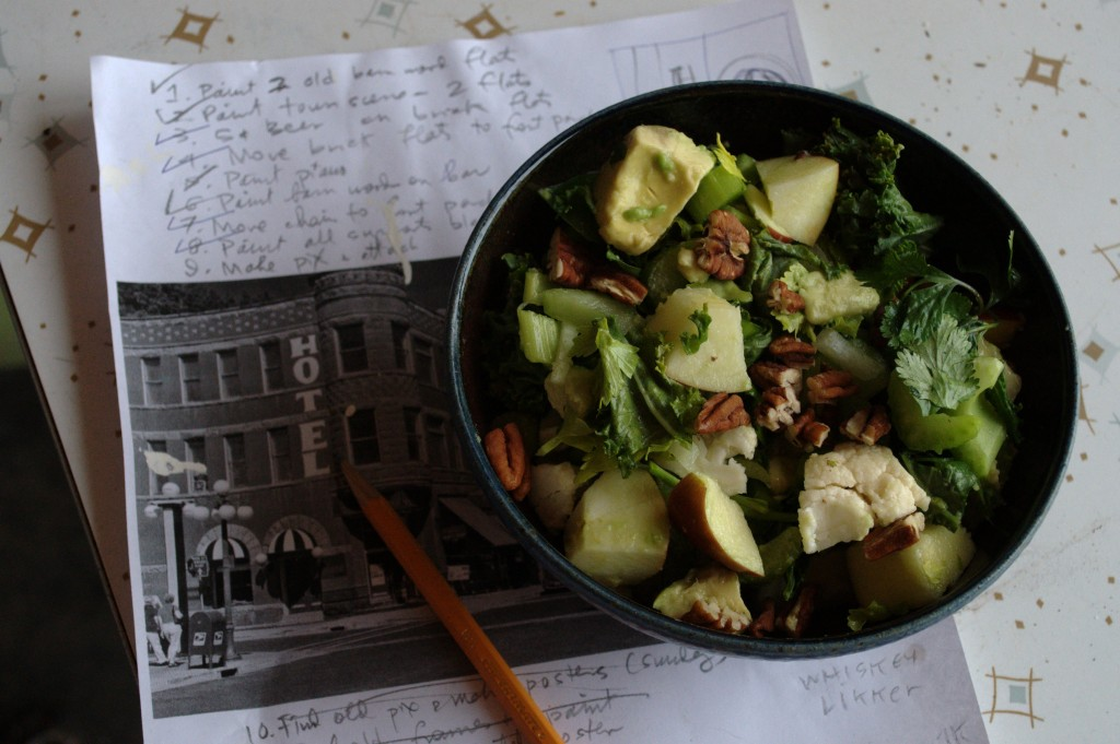 Here's my salad, sitting on my to-do list.