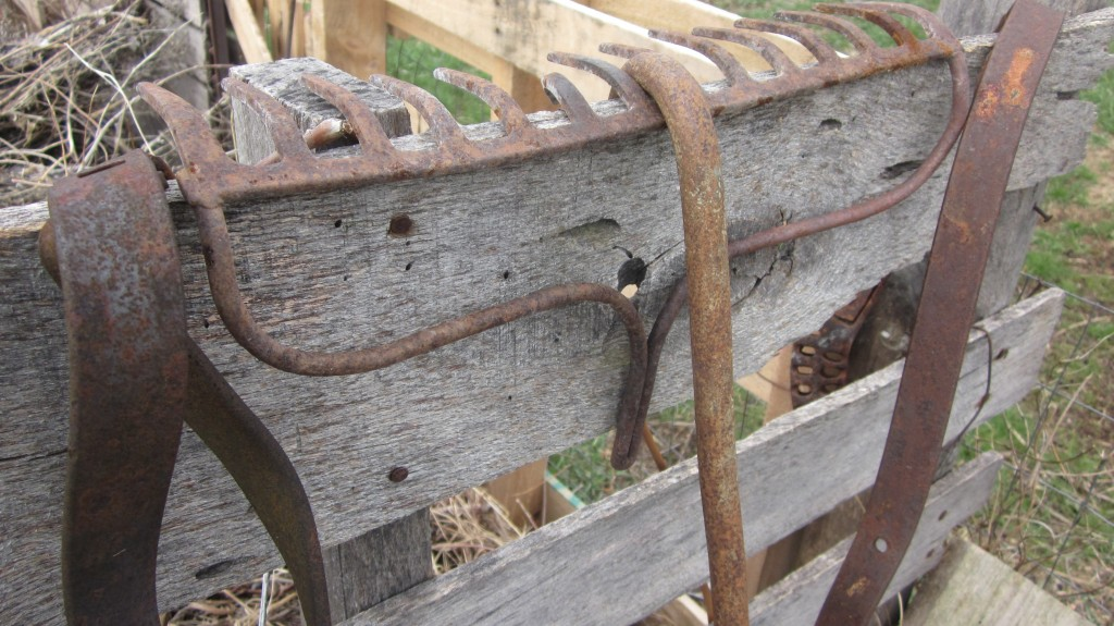 I like the look of these old pieces of tools on the weathered end of my compost bin.
