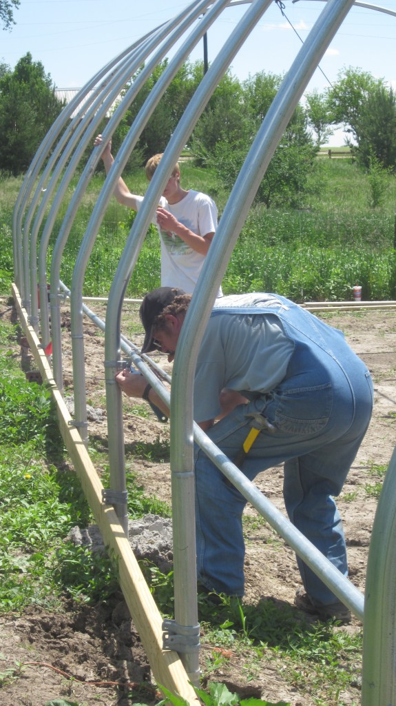 The side purlins are so much easier to install, since the guys can keep their feet firmly on the ground.