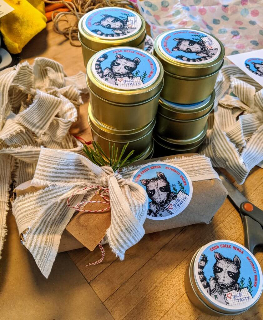 gift package with tins