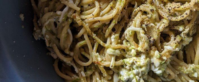 Spaghetti Noodles with Asparagus Pesto and 3 Cheeses–(yes, 3!)