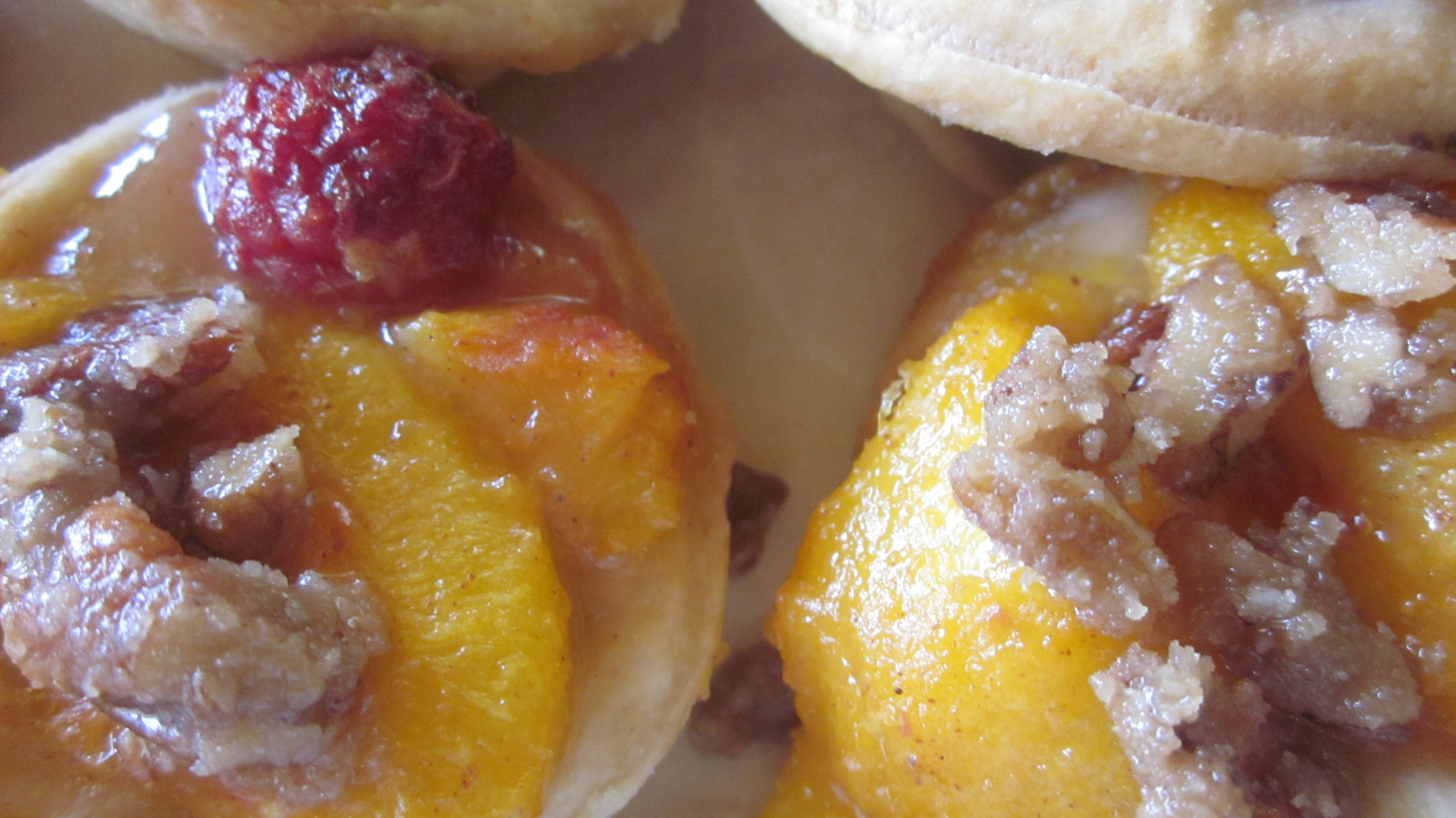 Peach and Raspberry Tartlets with candied pecans, oh my!