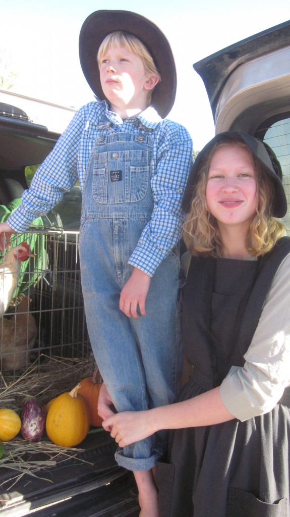 Here are my two little prairie children and a favored rooster, at our church's Trunk or Treat affair.