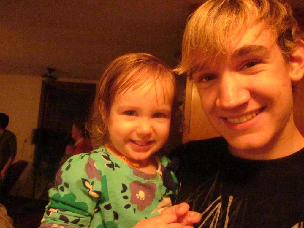 Here's our Anya with her cousin Adam. All smiles.