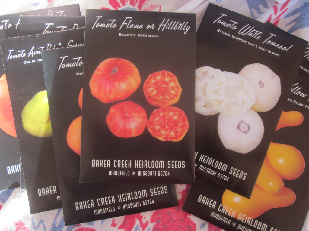 Here's the collection of 8 heirloom tomato seed packets that you can win if you enter my giveaway!