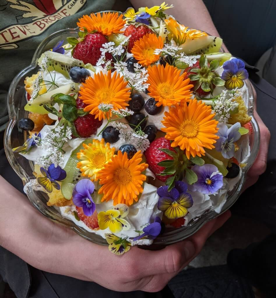 trifle covered with edible flowers and fruit