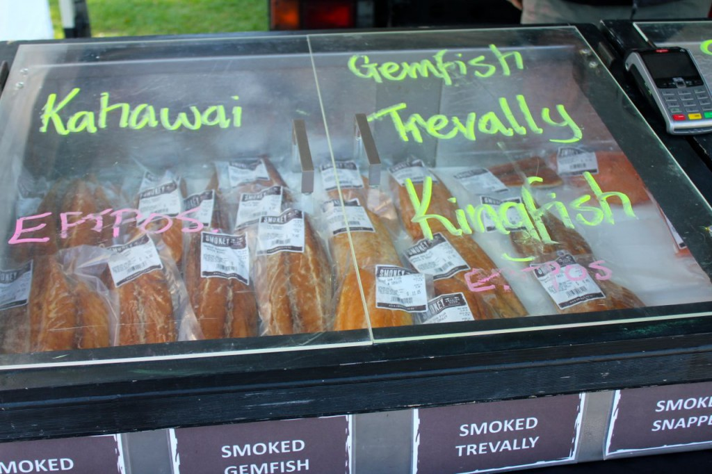 Smoked fish--and--samples of it! Yum!