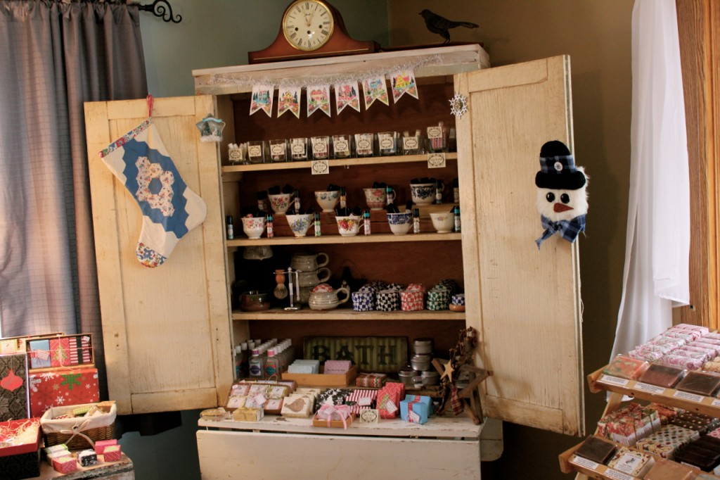 """Beautiful display of goat milk products at the """"Soap House."""""""