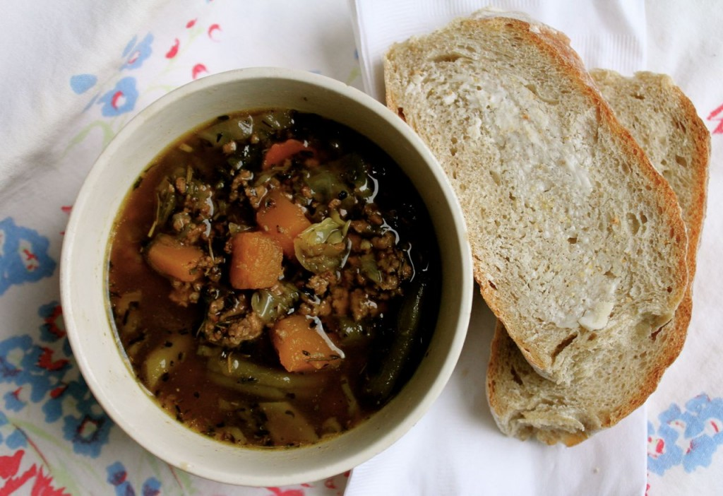 Loaded hamburger soup and warm bread--unbeatable!