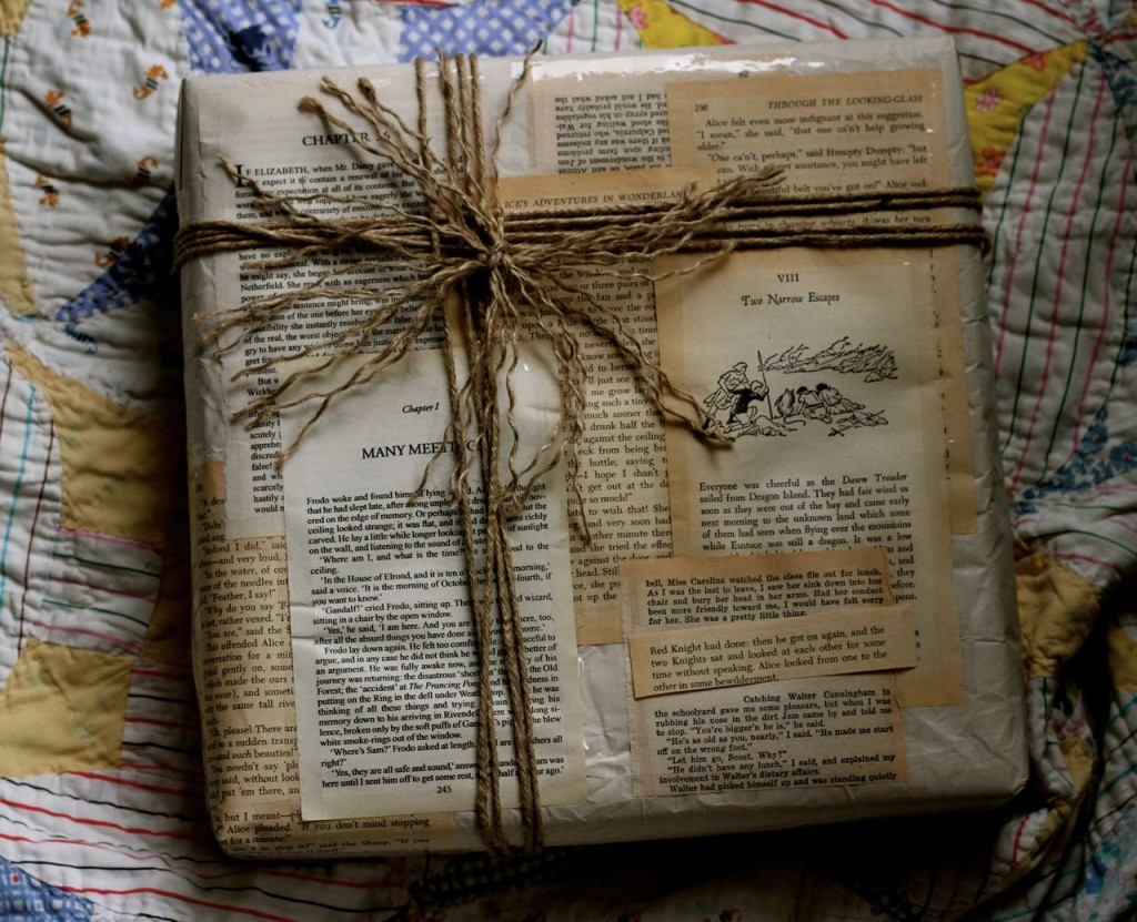 This is Amalia's work: lots of book pages, many of them yellowed (neat) and twine, some of it frayed (also neat).