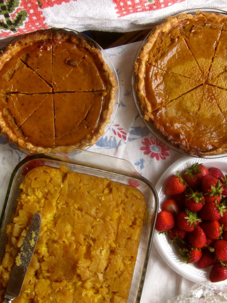 Pies and such at Thanksgiving.