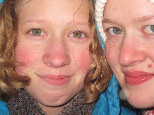 Here are my daughters today, outside in a recent snow.  Bethie is on the right, Amalia on the left.