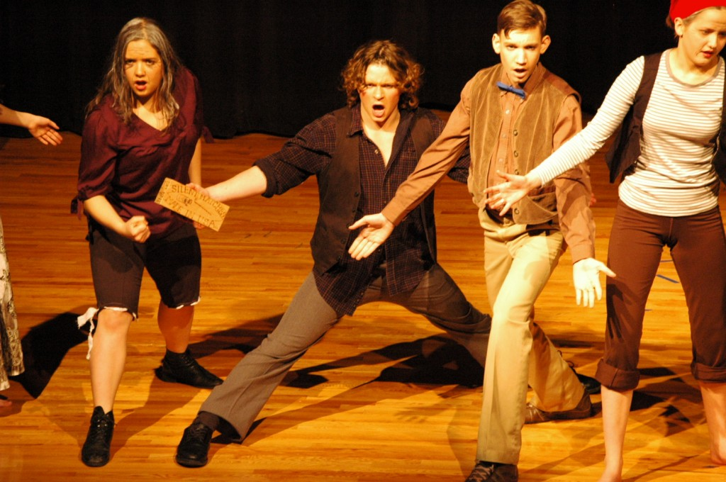 Here Monica Claesson, Nathan Canarsky, Adam Dovel, and Anna Wood perform in a musical number in Life on the Bowery.