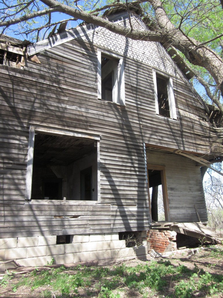 This is the front view of the House Held Up By Trees.