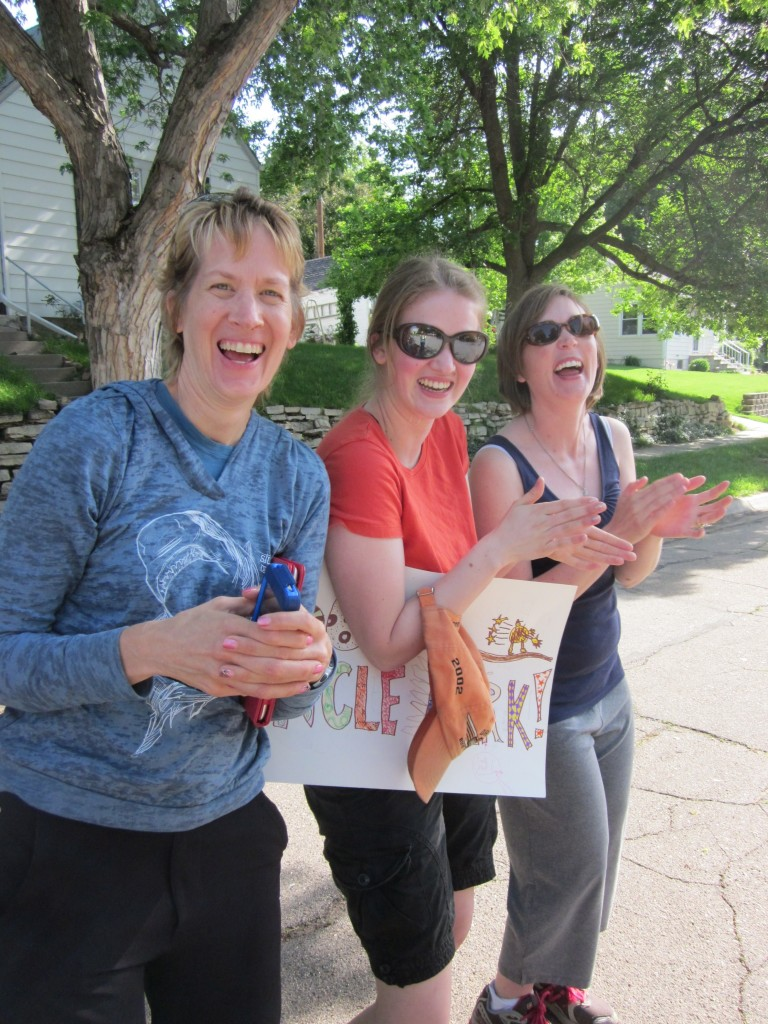 Here my sister Anne, daughter Bethany, and sister Mollie seem to be having way too much fun as we cheer Mark on!
