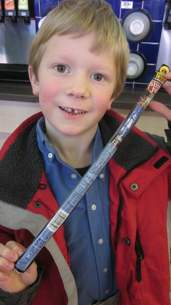 Little Mack wanted this super-long Slim Jim very, very, very much and was tickled when I said I'd buy it for him.  So easy to get this big grin out of this boy!