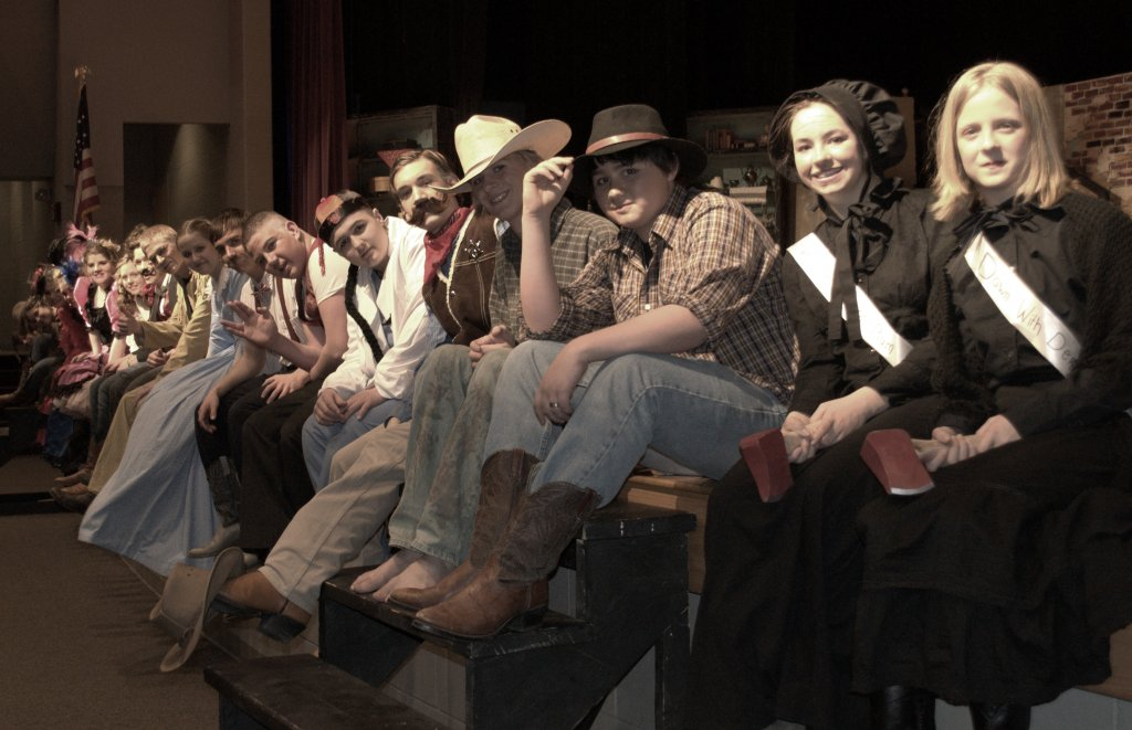 Here is my adorable cast from Deadwood Dick, tired from dress rehearsal but still grinning.