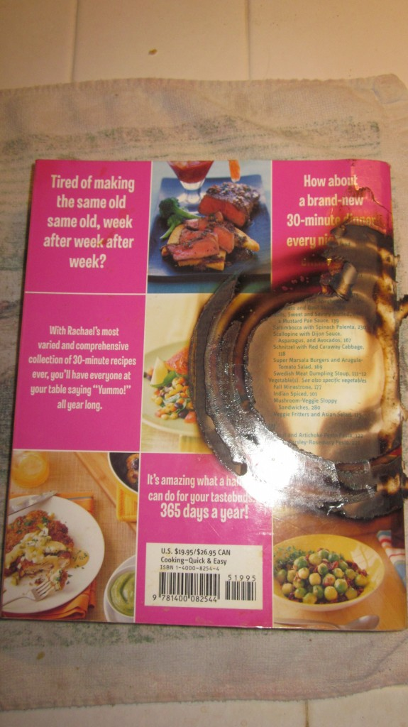Here's one of my favorite cookbooks. I set it down on a hot burner.  I still use it.