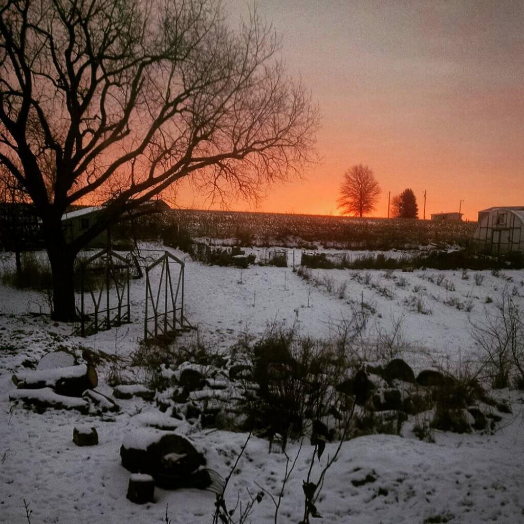 sunrise over a snow-covered landscape.