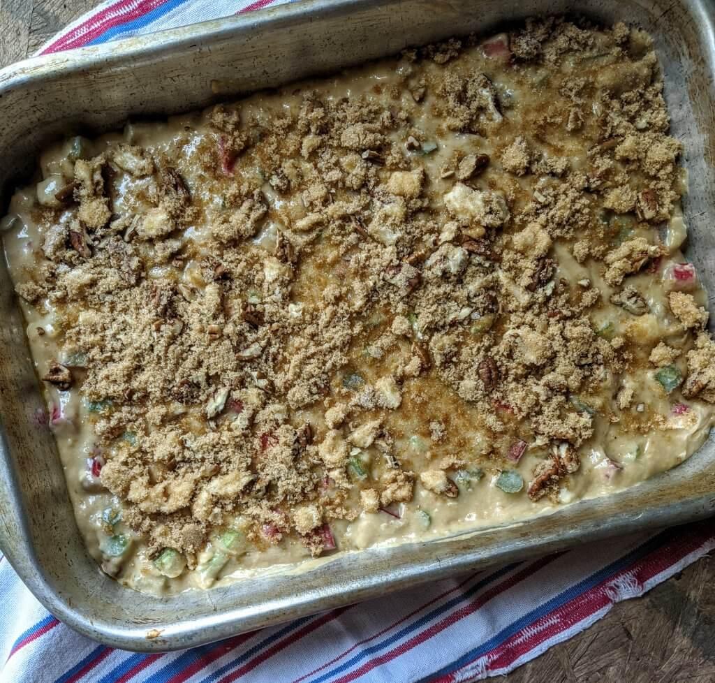 rhubarb coffee cake unbaked