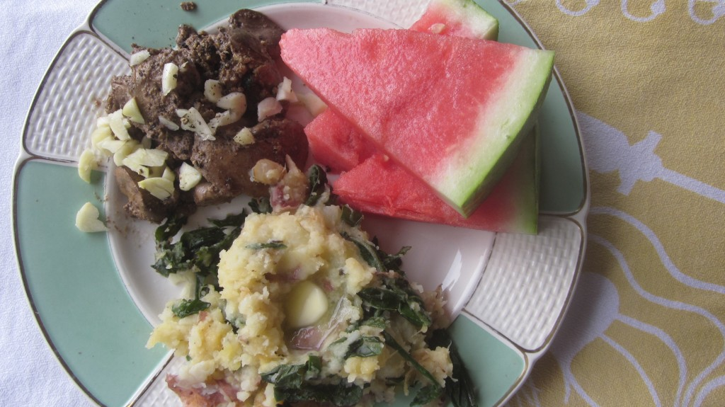 Fresh cold watermelon is such a great accompaniment to this meal!