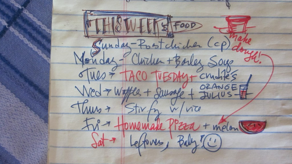 Here's my meal plan for this week, in all its messiness.