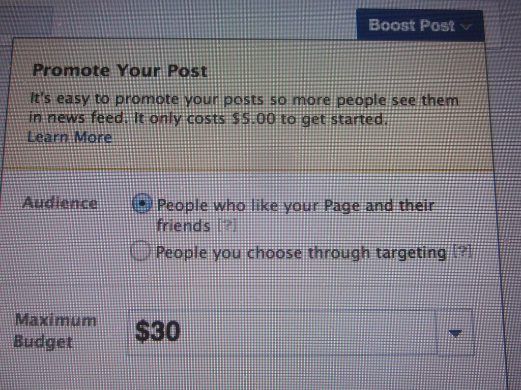 Here's what pops up when I make a post. An opportunity to pay Facebook for more.