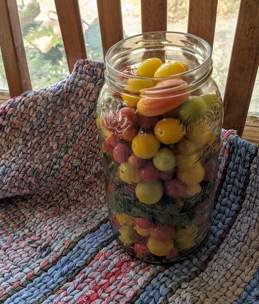 jar of cherry tomatoes