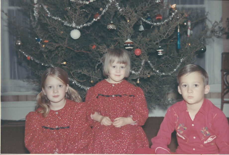 Here are three of us, anyway: me on the left, then Anne (in our matching flannel nightgowns!) and an uncharacteristically sober Mark.