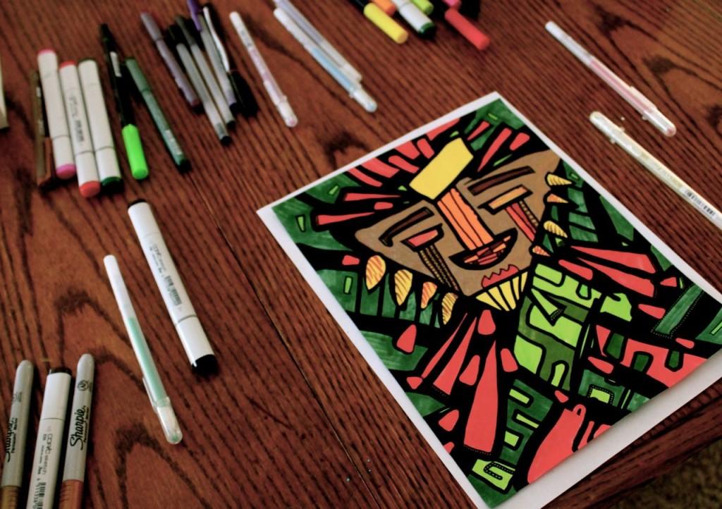 coloring page, pencils
