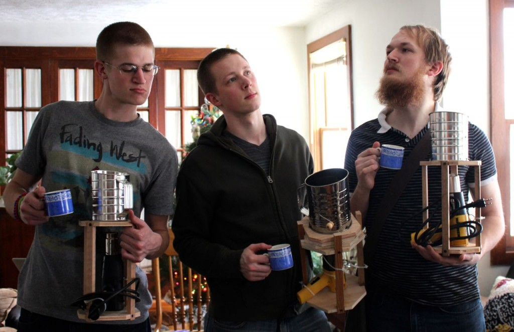 Timothy, Matthew, and Andrew, posing with their cups of joe and their new coffee roasters.*