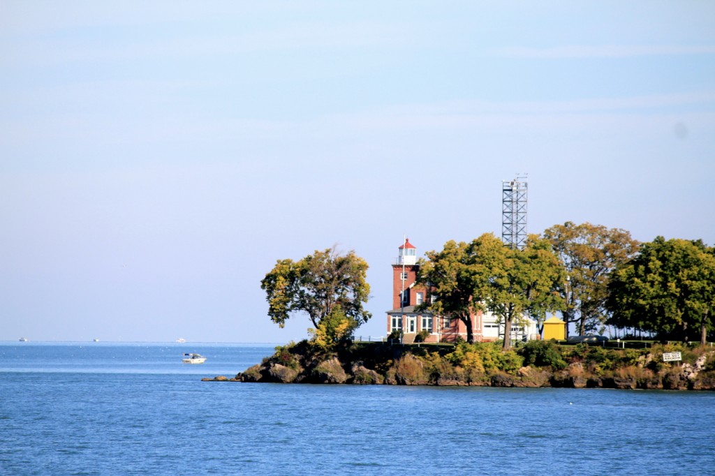 Here's our first view of the lighthouse on the near side of the island.