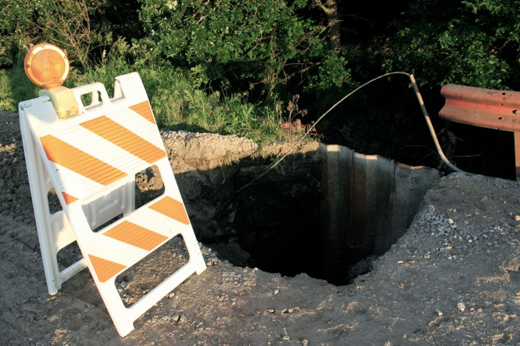 Here's the hole in the road, close to our place.