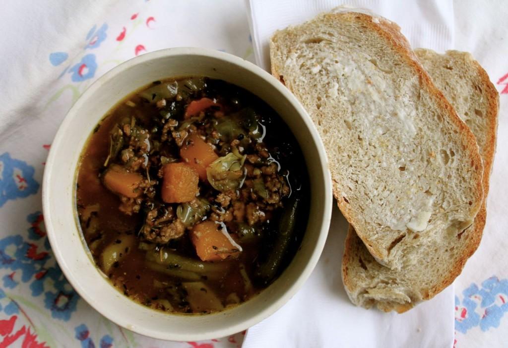 Loaded hamburger soup and warm bread--unbeatable!
