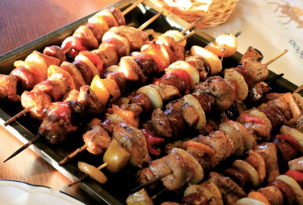 Grilled kabobs: chicken, sausage, onions, peppers. Yum.