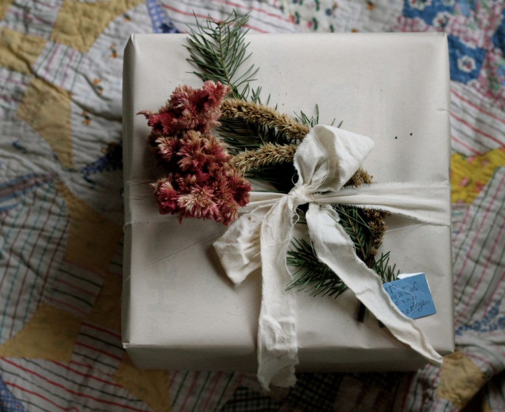 Coxcomb makes such a pretty package decoration, especially paired with some greenery and strips of muslin.