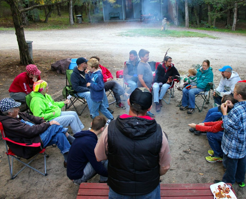The Pine Valley Resort had a number of small cabins surrounding a central gathering place with a fire pit and a gazebo.