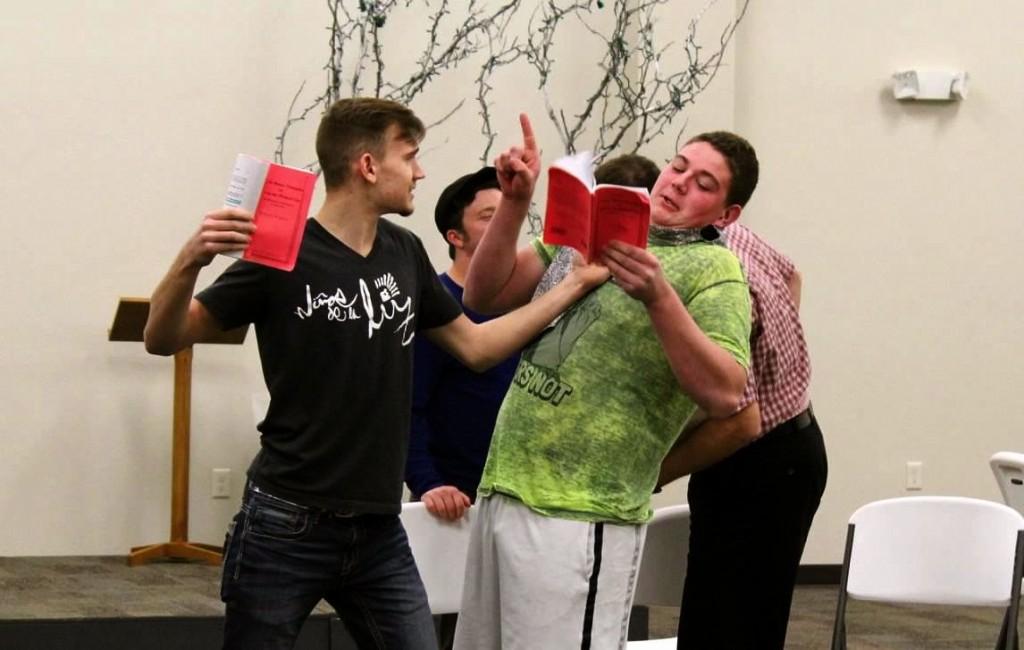 Adam Dovel and Quinn Miller work on a fight scene.
