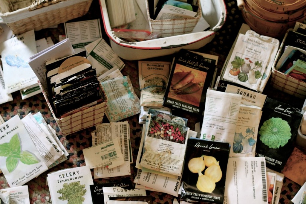 You can see what I love to grow most, by the size of the stacks of seed packets!