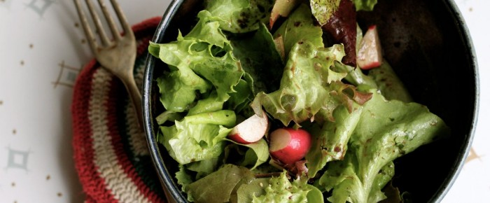 Fresh lettuces with the Easiest Vinaigrette Ever