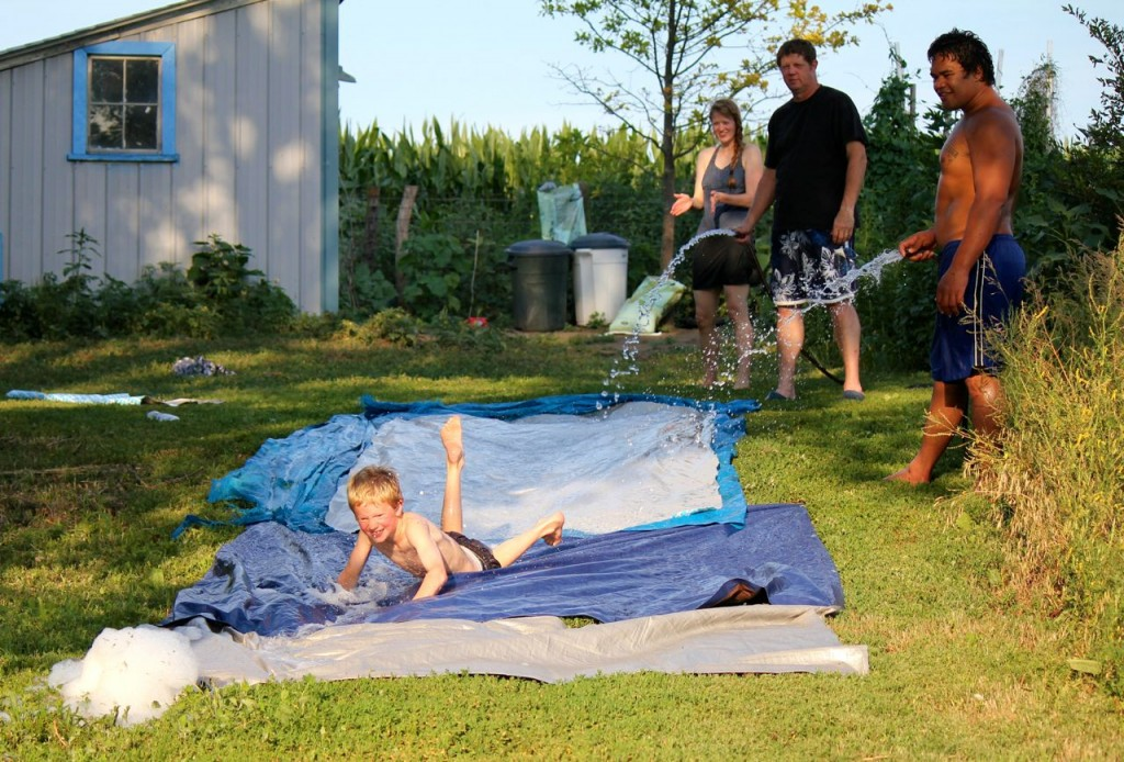 What do country folk do when they want to ride on a water slide?