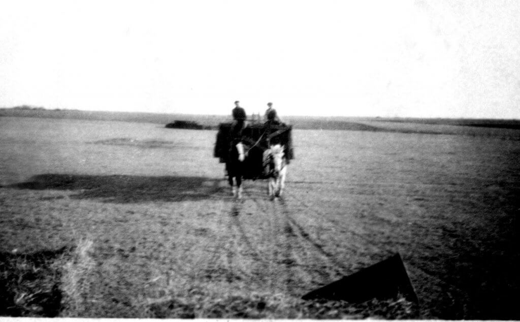 two men driving horses and wagon